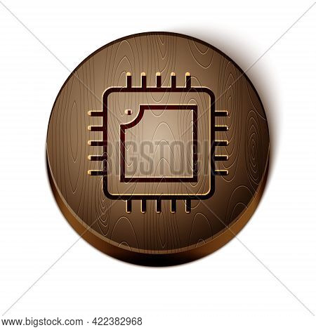 Brown Line Computer Processor With Microcircuits Cpu Icon Isolated On White Background. Chip Or Cpu
