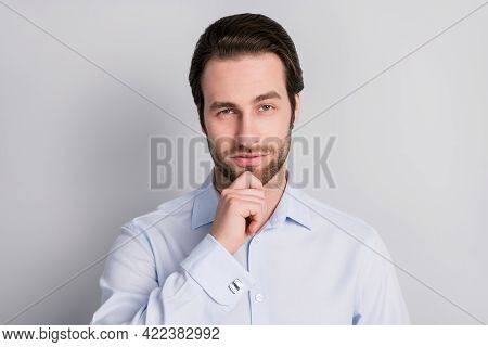 Photo Portrait Thoughtful Confident Serious Touching Chin Businessman Wearing Formalwear Isolated Gr