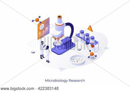 Concept With Scientists, Test Tubes, Microscope And Petri Dish. Bacteriological Analysis, Microbiolo