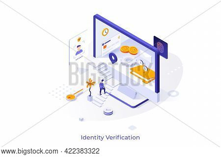 Conceptual Template With Person Ascending Stairs And Trying To Enter Computer Screen. Concept Of Ide