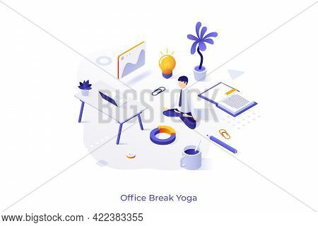 Conceptual Template With Clerk, Employee Or Businessman Sitting Cross Legged And Meditating At Work.