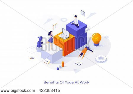 Conceptual Template With Group Of Employees Or Clerks Practicing Yoga, Mindful Meditation And Perfor