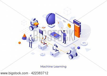 Conceptual Template With Teacher Giving Lecture To Robots. Concept Of Artificial Intelligence, Machi