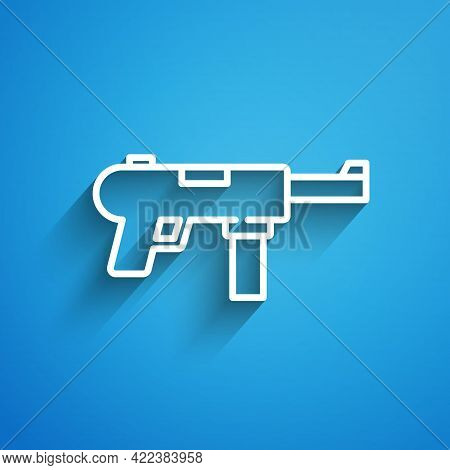 White Line Submachine Gun M3, Grease Gun Icon Isolated On Blue Background. Long Shadow. Vector
