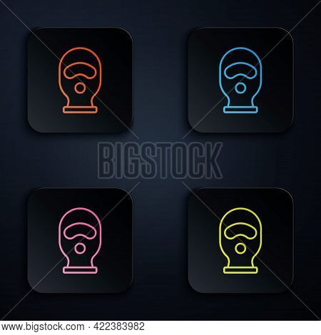 Color Neon Line Balaclava Icon Isolated On Black Background. A Piece Of Clothing For Winter Sports O