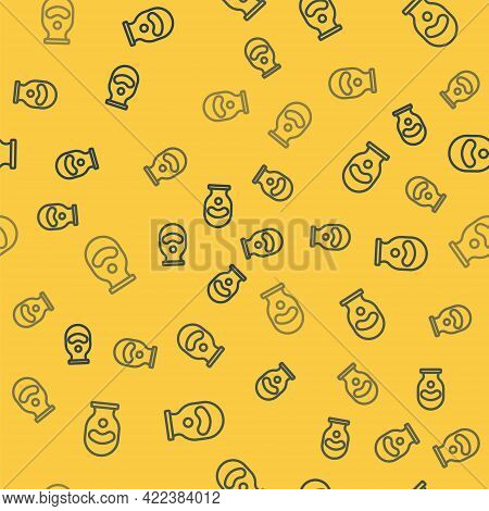Blue Line Balaclava Icon Isolated Seamless Pattern On Yellow Background. A Piece Of Clothing For Win