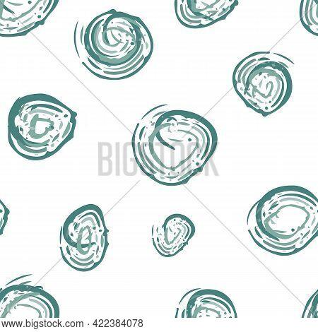 Scribbled Painterly Circle Vector Seamless Pattern Background. Hand Drawn Brush Stroke Aqua Blue Cir