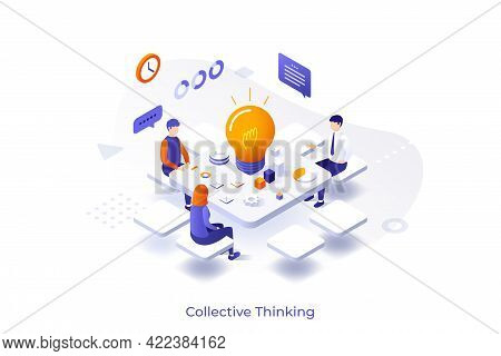 Conceptual Template With Group Of People Sitting Around Table With Glowing Lightbulb On It. Scene Of