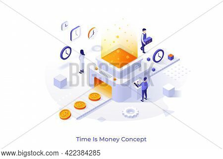 Conceptual Template With People Working On Conveyor Belt And Machine Transforming Clocks Into Dollar