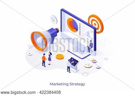 Conceptual Template With Customers Or Consumers, Giant Megaphone, Computer Display. Scene For Market