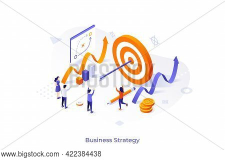 Conceptual Template With Joyful People, Shooting Target With Arrow In Center. Scene For Successful B