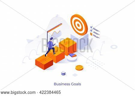 Conceptual Template With Businessman Walking Towards Target Or Man Ascending Career Ladder. Scene Fo