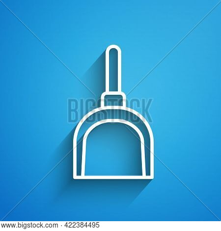 White Line Dustpan Icon Isolated On Blue Background. Cleaning Scoop Services. Long Shadow. Vector