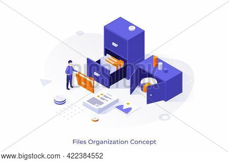 Conceptual Template With Office Worker And Storage Cabinet Full Of Documents In Folders. Scene For F