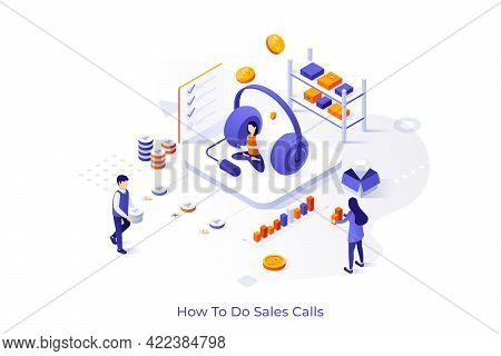 Conceptual Template With Salesperson, Dispatcher Or Telemarketer, Giant Headphones, Diagrams. Scene
