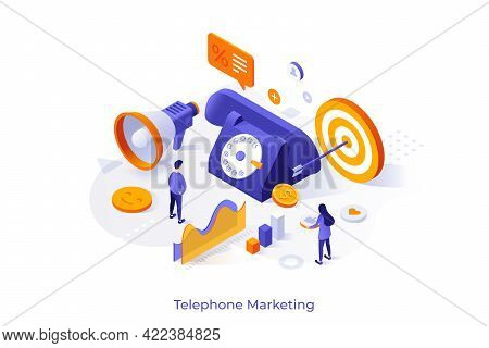 Conceptual Template With People, Giant Telephone, Target, Megaphone, Diagrams. Scene For Phone Sales