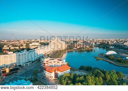 Minsk, Belarus. Elevated View Of Minsk Skyline In Sunny Summer Evening. Nemiga District In Sunset Ti