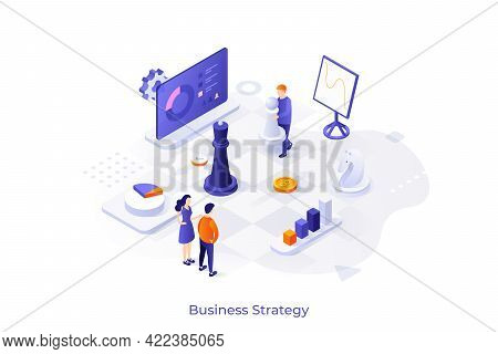 Conceptual Template With Diagrams Or Charts And People Playing Chess On Giant Board. Scene For Busin