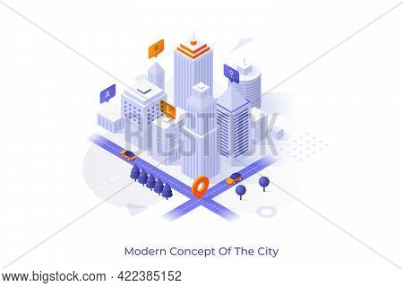 Concept With Downtown Area, Business Buildings And Skyscrapers. Scene For Modern City, Urban Develop