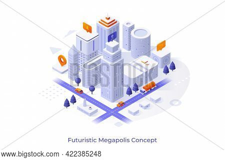 Conceptual Template With Business City Center Or Downtown Area, Modern Buildings Or Skyscrapers, Str