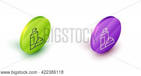 Isometric Line Whipped Cream In An Aerosol Can Icon Isolated On White Background. Sweet Dairy Produc