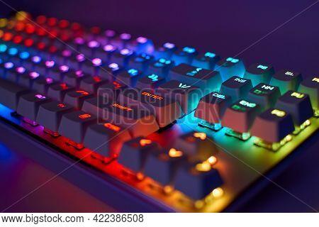 Rgb Gaming Keyboard. Bright Colorful Keyboard, Soft Focus. Mechanical Keyboard With Rgb Light, Blurr