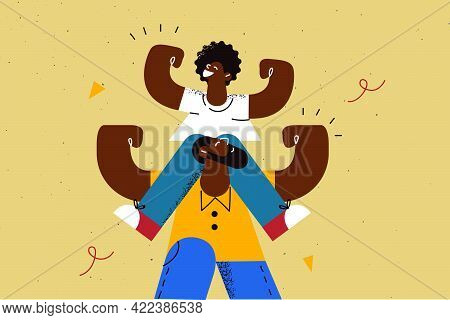 Happy Fathers Day Celebration Concept. Smiling African Small Son Cartoon Character Sitting On Strong