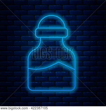 Glowing Neon Line In Can Icon Isolated On Brick Wall Background. Seasoning Collection. , Condiments