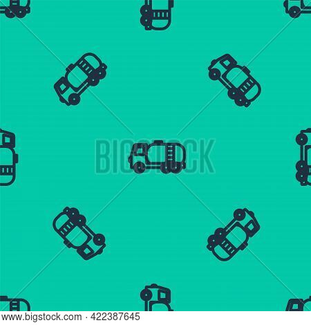 Blue Line Tanker Truck Icon Isolated Seamless Pattern On Green Background. Petroleum Tanker, Petrol