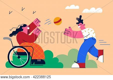 Happy Lifestyle Of Disabled People Concept. Little Girl In Wheelchair Cartoon Character Playing Ball