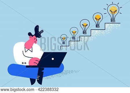 Success, Leadership, New Ideas Concept. Successful Businessman Cartoon Character Sitting On Floor In