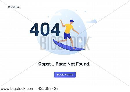 Flat Concept 404 Error Page Not Found