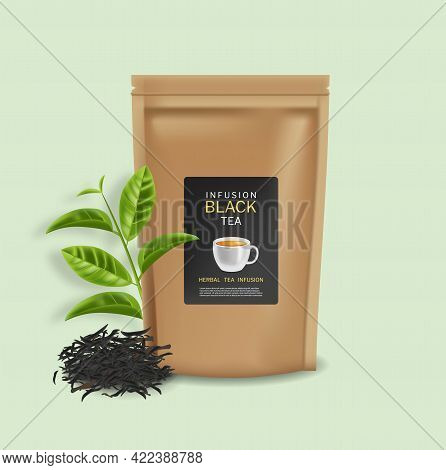 Black Tea Bag Vector Realistic. Product Placement Mock Up. 3d Detailed Illustration. Tea Leaves And