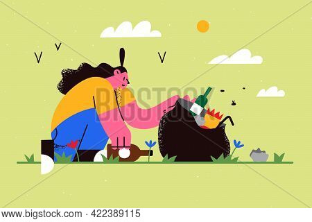 Ecological Saving And Eco-sustainable Lifestyle Concept. Young Smiling Girl Volunteer Cartoon Charac