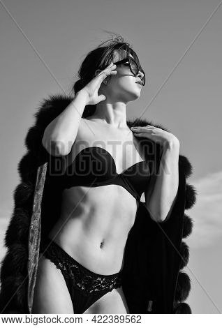 Sexy Woman Has Luxury Look. Fashion And Beauty. Female Lingerie Style. Erotic Games And Desire. Sens