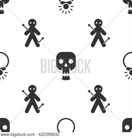Set Magic Stone Ring With Gem, Skull And Voodoo Doll On Seamless Pattern. Vector