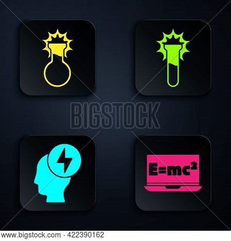 Set Equation Solution, Test Tube And Flask, Head And Electric Symbol And Test Tube And Flask. Black