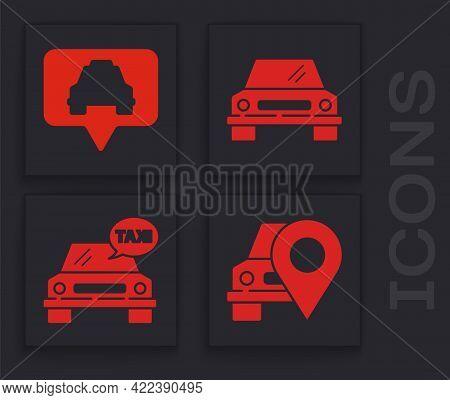 Set Map Pointer With Taxi, Map Pointer With Taxi, Car And Taxi Car Icon. Vector