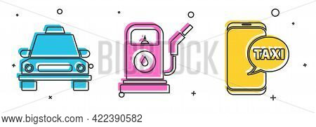 Set Taxi Car, Petrol Or Gas Station And Taxi Call Telephone Service Icon. Vector