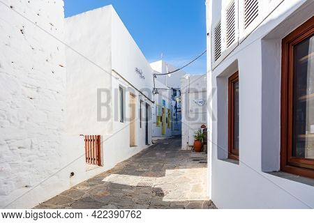 Greece, Sifnos Island. Traditional Whitewashed Buildings At Chora.