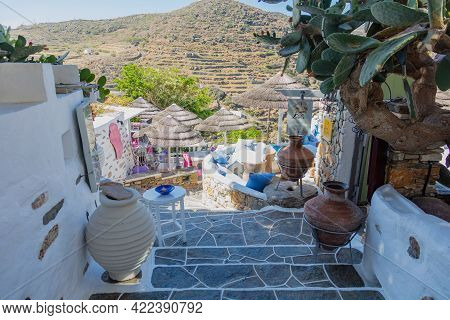 Greece, Sifnos Island. Traditional Shops At Stairs, Kastro Village