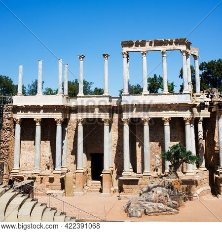 Roman Theatre At Merida. Summer Festival With Night Sessions.spain