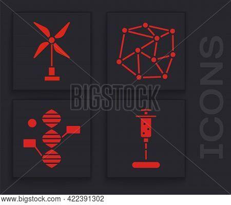 Set Syringe, Wind Turbine, Neural Network And Dna Symbol Icon. Vector