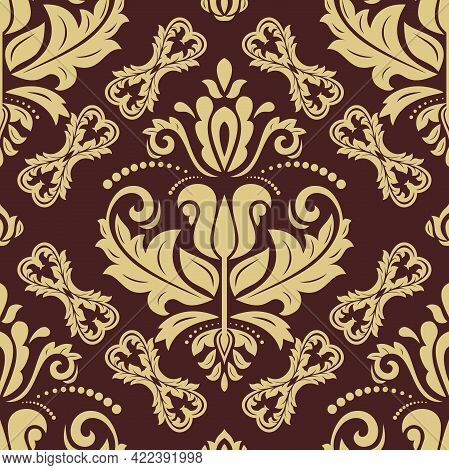 Orient Vector Classic Golden Pattern. Seamless Background With Vintage Elements. Orient Background.