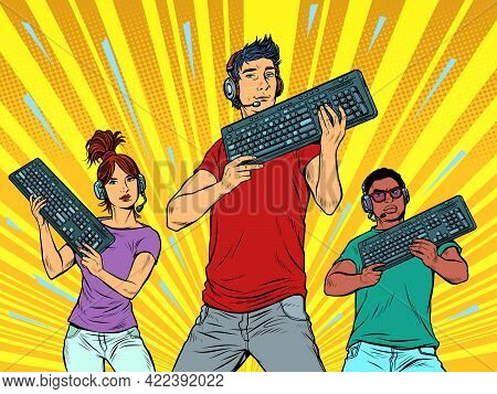 Professional Gamers With A Keyboard. Computer Games Industry