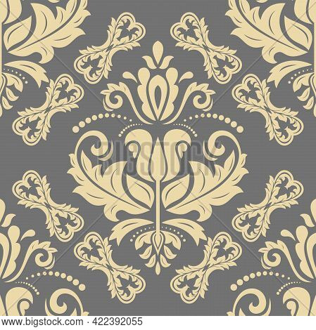 Classic Seamless Vector Golden Pattern. Damask Orient Ornament. Classic Vintage Gray And Golden Back