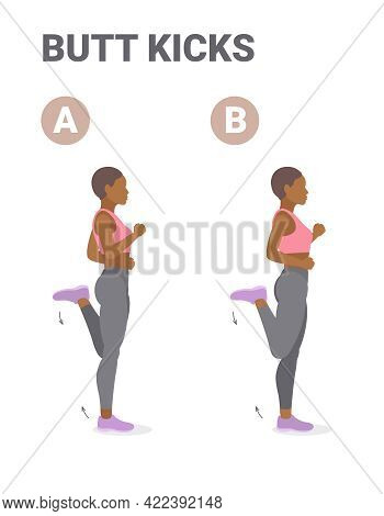 Athletic African American Girl Doing But Kickcs Or Bum Kicks Home Workout Exercise Guidance.