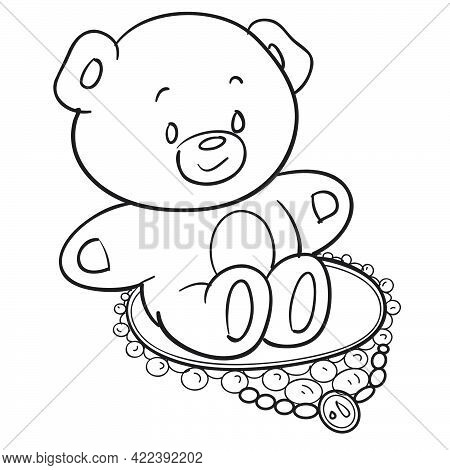 Concept, Sketch Of A Toy Bear Sitting In The Center Of A Necklace, Coloring Book, Illustration Carto
