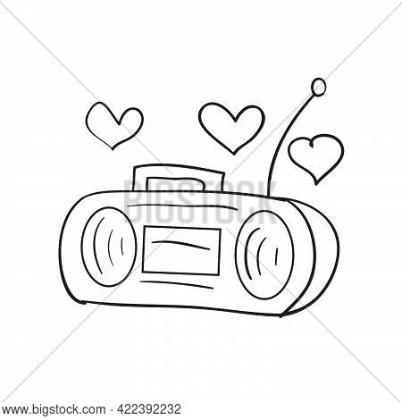 Concept, Sketch Of Tape Recorder Around Which Hearts, Cartoon Illustration, Isolated Object On White