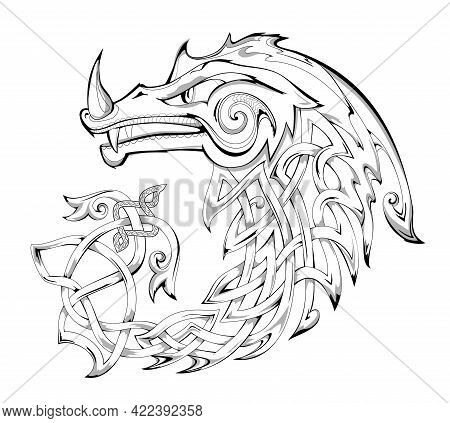 Black And White Page For Coloring Book. Fantasy Illustration Of Dragon. Animal From Ancient Legend W